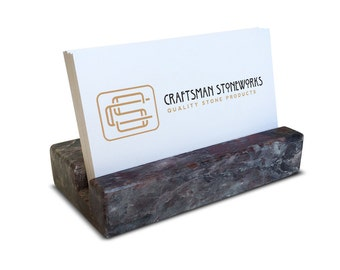 Business Card Holder - Grey and Burgundy Marble - Office Desk Home, Recycled Marble, Business Gift
