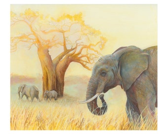 Elephants at Tarangire National Park, 8x10 print