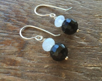Moonstone Black Crystals and Sterling Solver Earrings