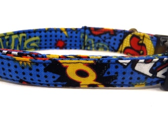 Super Hero - Organic Cotton CAT Collar Breakaway Safety - Comic Book - All Antique Metal Hardware