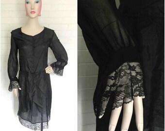 Vintage 1920s Slip with Sleeves S/M