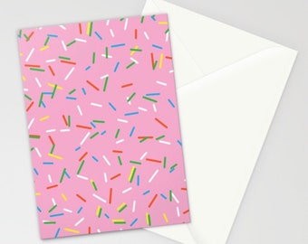 Birthday Collection: Pink Rainbow Sprinkles Stationary, Birthday Stationary Set, Cupcake Stationery, Pink Stationary Set, Pink Birthday Card