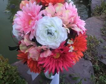 Pink bridal bouquet, Pink wedding bouquet, silk wedding bouquet, Silk bridal bouquet,