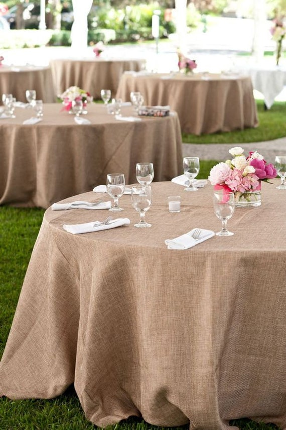 120 Round Burlap Tablecloth Table Cloth Jute Linen