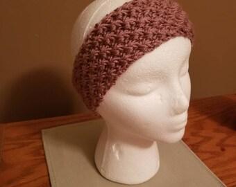 Lavender daisy stitch hand knit headband