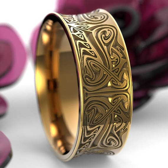 RESERVED FOR Carolyn Size 14.5 Gold Engraved Norse Wedding Ring With Dramatic Design in 14K Gold, Made in Your Size Cr-5088