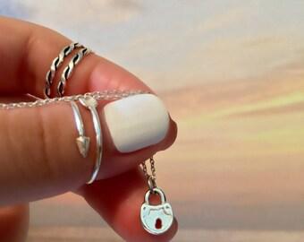Silver Lock Necklace - Sterling Silver Lock Necklace - Tiny Lock Pendant Necklace - Dainty Lock Necklace