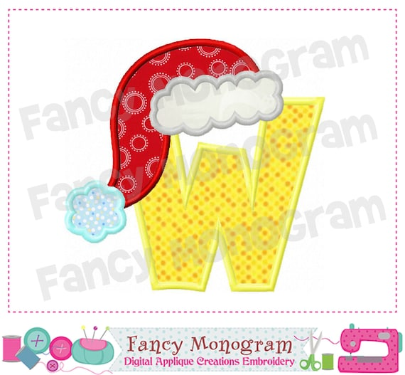 items similar to christmas monogram w appliquewsanta claus letter w appliquefont w appliquew santa claus designchristmas designmachine embroidery 01