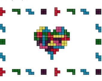 Tetromino Love Heart - PDF Cross Stitch Pattern
