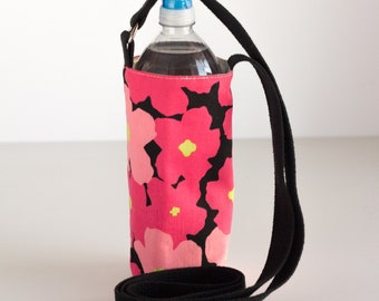 Pink Floral Water Bottle Sling, Pink and Black Water Bottle Holder, Crossbody, Pink, Green, and Black Cotton Fabrics, Handmade