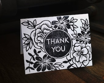 Floral  thank you card set of 4