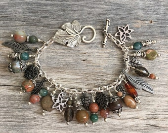 Leaf Charm Bracelet, Autumn Jewelry, Fall Bracelet, Fall Jewelry, Leaf Charms, Jewelry for Fall, Natural gemstone beads, leave charms