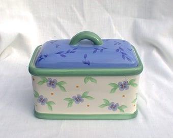 Pfaltzgraff Summer Breeze Kitchen Keeper Canister Recipe Box