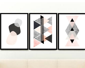 Triptych, Geometric Art, Printable Art, Abstract Art, Scandinavian Art, Textured Art, Set of 3 Prints, Digital download, Pink And Grey Art