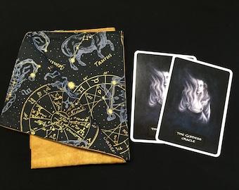 Astrological Mechanical Reversible Tarot or Rune Reading Cloth