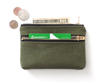 Canvas Wallet Double Zipper Pouch Recycled Military Canvas
