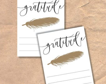Instant Download Printable Gratitude Cards // Feather