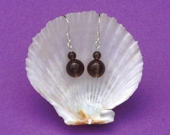 Sterling silver earrings with smoky quartz gemstone beads, Base chakra jewellery, Capricorn, Hypoallergenic earrings, Healing gemstones, 925