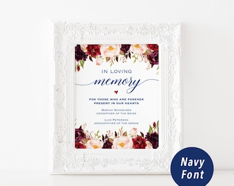 Printable In Loving Memory Sign Template, Navy Memorial Table Sign, Burgundy Floral Wedding Sign, Editable PDFs Instant Download #109 #115