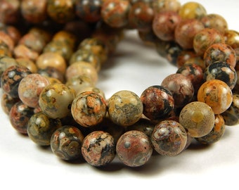 15 Inch Strand - 8mm Round Yellow Leopardskin Jasper Beads - Gemstone Beads - Jewelry Supplies