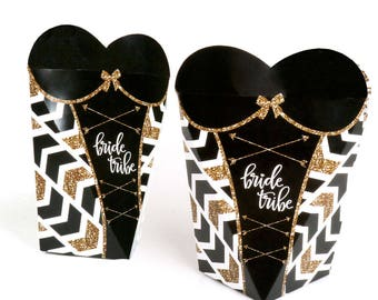 Bride Tribe - Bachelorette Party Gift Favor Boxes for Women - Bride Tribe Lingerie Shaped Boxes - Black & Gold Bridal Gift Bag - 12 Ct.