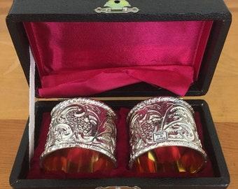 30% Off Sale Vintage Silver and Gold Napkin Holder Set of 2, Made in Japan