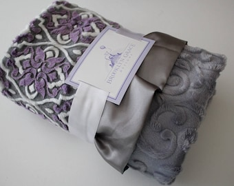 Mar Bella Valencia Violeta Purple, Plum with Embossed Vine in Gray with Gray Satin Trim Minky Blanket, Crib Bedding, Nursery, Baby Shower