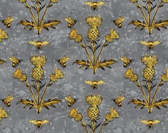 Half Yard Fabric-A Bees Life-Gray Grey Thistles