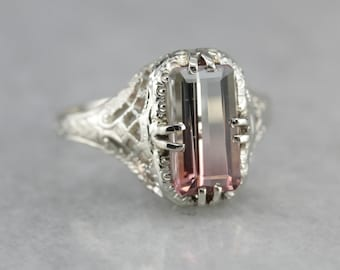 Watermelon Tourmaline Ring, Art Deco Dinner Ring, Tourmaline Ring, White Gold Ring 09163WNW-N