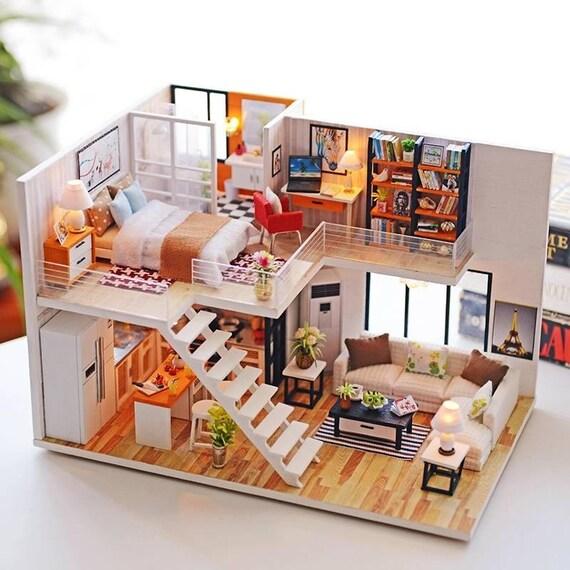 124 scale modern loft apartment diy dollhouse kit ph24a206 like this item solutioingenieria Choice Image