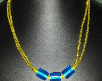 handmade yellow glass seed bead and blue necklace, fun, double strand necklace, gifts for her, colorful jewelry