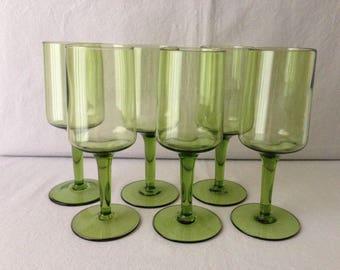 Gorgeous green mid century stemware/wine glasses