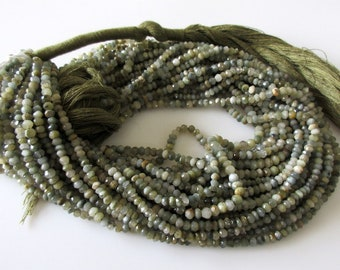 Green Cats Eye Faceted Beads, Cats Eye Rondelle Beads, 4mm Cats Eye Beads, Cats Eye Rondelles, 13 Inch Strand, GDS1064