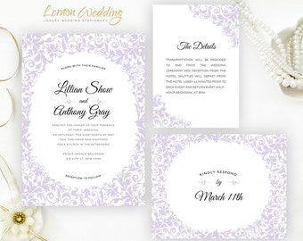 Printed wedding invitation kits | Purple wedding invitation printed on shimmer cardstock | Personalized wedding invites | Marriage cards