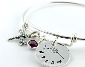 Dandelion Dream Simply Charming Bangle Bracelet - sterling silver