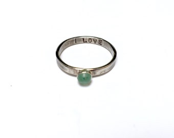 Chakra Ring // Heart Chakra // Green Aventurine // Sterling Silver Stacking Ring // Gemstone // stamped mantra // yoga jewelry