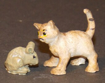 Dollhouse Miniature Cat and Mouse  1:12  one inch scale