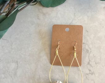 Gold Teardrop Hoop Dangle Drop Crochet Earrings