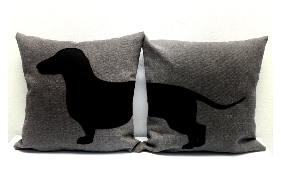 Personalized pillows with sausage dog pillow covers grey and
