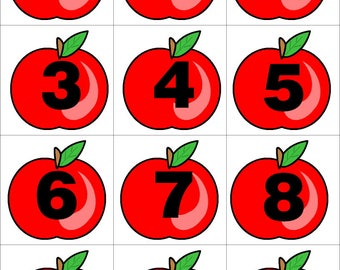 Apples - Numbers 0-31 Pocket Chart Cards  Set for  Learning Centers  -- Perfect for Preschool - Kindergarten - homeschool - Instant Download