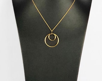 Medium Lunar Eclipse 18k Yellow Gold Vermeil Pendant on 40cm Chain