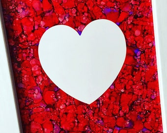 Hand-painted Framed Heart Ink Painting / Framed Heart Wall Art / Heart Painting