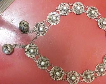 Antique Middle East hand tooled Silver Filigree *Belt*