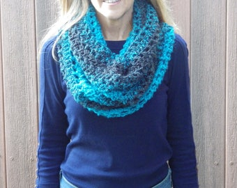 Black and Blue Lace Infinity Scarf