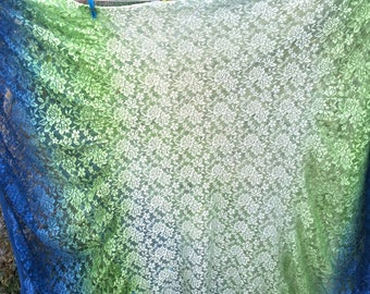 Blue and green vintage lace with gathered edges -destash- upcycle boho