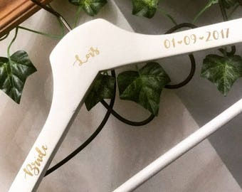 Custom Bridal Party transfer decal, name, date and role - hangers not included, Vinyl, personalised, wedding, maid of honour, Bridesmaid
