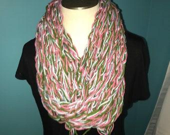 Yarn Scarf, Fuzzy scarf, Pink,Green,Light Blue scarf, Soft scarf, Nonirritating, Comfy.