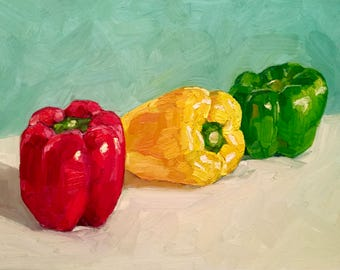 Three Bell Peppers (Red, Yellow and Green)