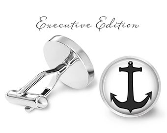 Black Anchor Cufflinks - Nautical Anchor Cufflink - Anchor Cuff links - Boating Cufflinks (Pair) Lifetime Guarantee (S0416)