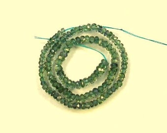 "Green Songea sapphire faceted rondelle beads AAA 2.5-3.5mm 9"" strand"